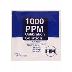 Sodium Chloride(NaCl) EC/TDS calibration solution. 20 ml 1000ppm / 2mS / 2000 µS solution